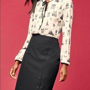 Paris-print tie-front blouse